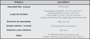 Juki dln6390 Especificaciones